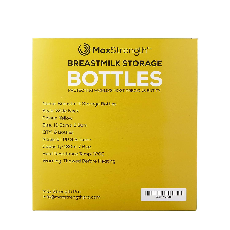 au cong/élateur et au lave-vaisselle Ensemble de bouteilles de lait maternel 3pi/èce avec anti-fuite Couvercle par Max Strength Pro sans BPA 170,1 gram 180 ml r/éutilisable bouteilles /à goulot large