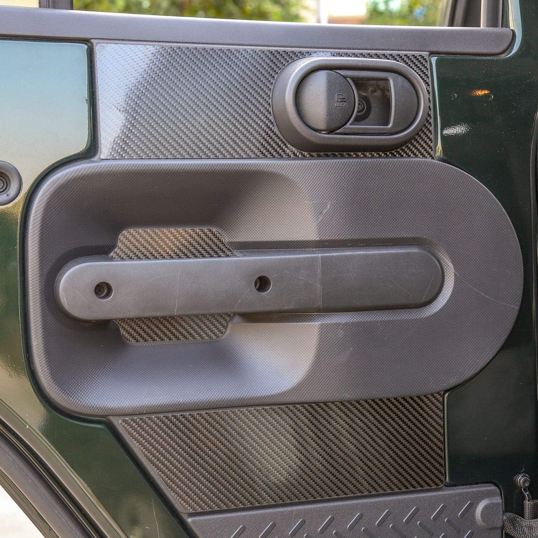 JeCar for Jeep Wrangler Rear Door Interior Accessories Decoration Trim Sticker Kit for Jeep Wrangler 2007-2010 2 Doors and 4 Doors Carbon Fiber Pattern