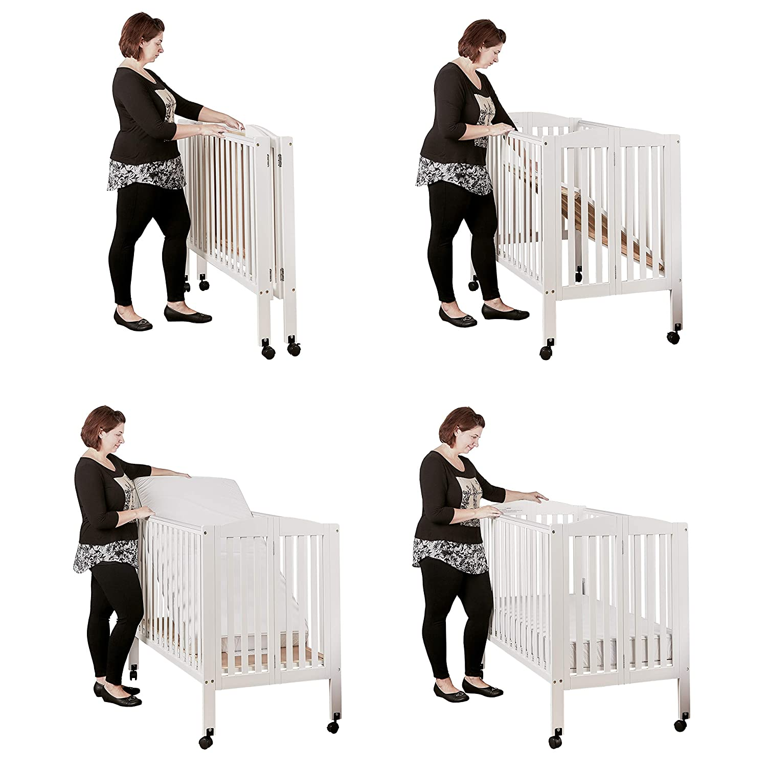 Espresso Dream On Me 3 in 1 Portable Folding Stationary Side Crib