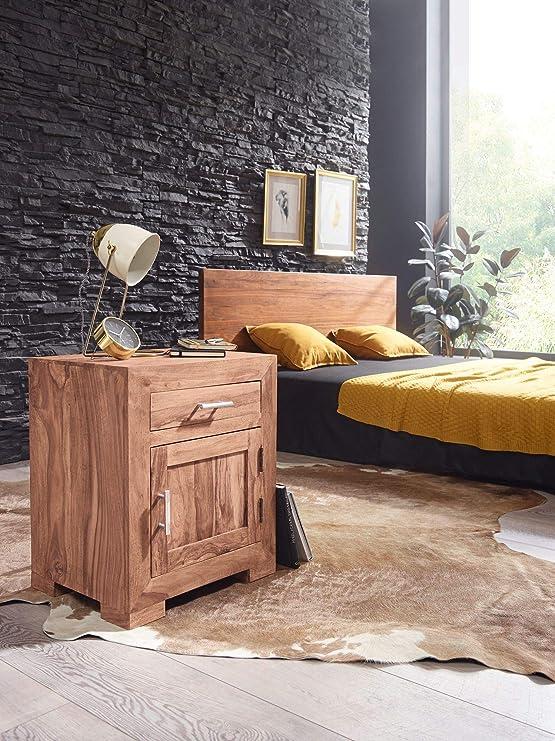 Mesita de Noche UMBAI Mesita de Noche de diseño de Acacia de Madera Maciza 60 cm con cajón y Puerta Mesilla de Noche para Cama con somier HxWxD: ...