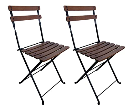 Tremendous Mobel Designhaus French Cafe Bistro Folding Side Chair Jet Black Frame European Chestnut Wood Slats With Walnut Stain Pack Of 2 Caraccident5 Cool Chair Designs And Ideas Caraccident5Info