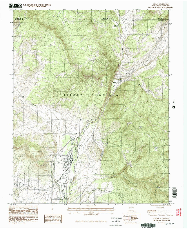 Amazon Com Yellowmaps Chama Nm Topo Map 1 24000 Scale 7 5 X 7 5