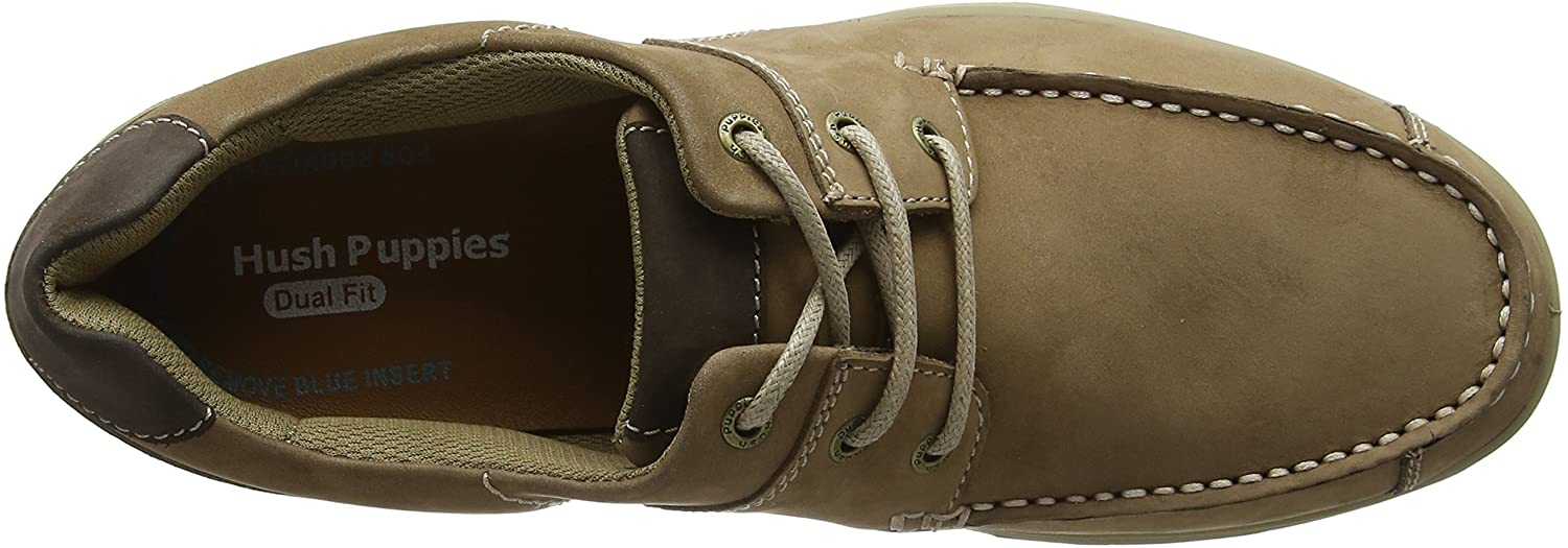 Hush Puppies RUNNER MOCC LACE Mens Leather Casual Moccasin Lace Up Shoes Tan