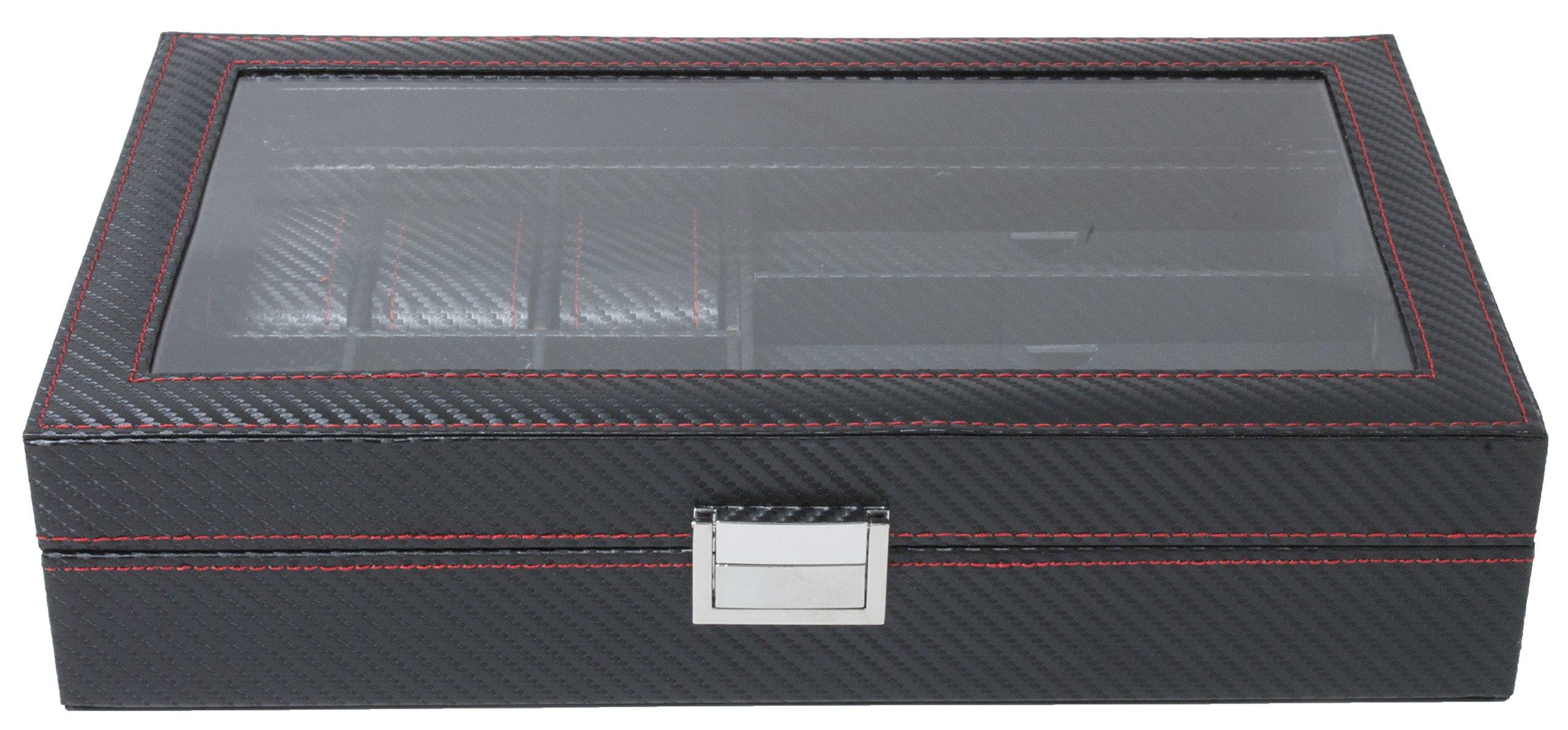 Royal Brands 6 Piece Watch Box with 3 Piece Eyeglass Organizer Tray Carbon Fiber Pattern Display Jewelry Storage Case