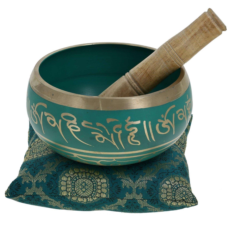Budista meditaci/ón canto cuenco tibetano Decor arte verde 10,2 CM regalos d/ía de la madre