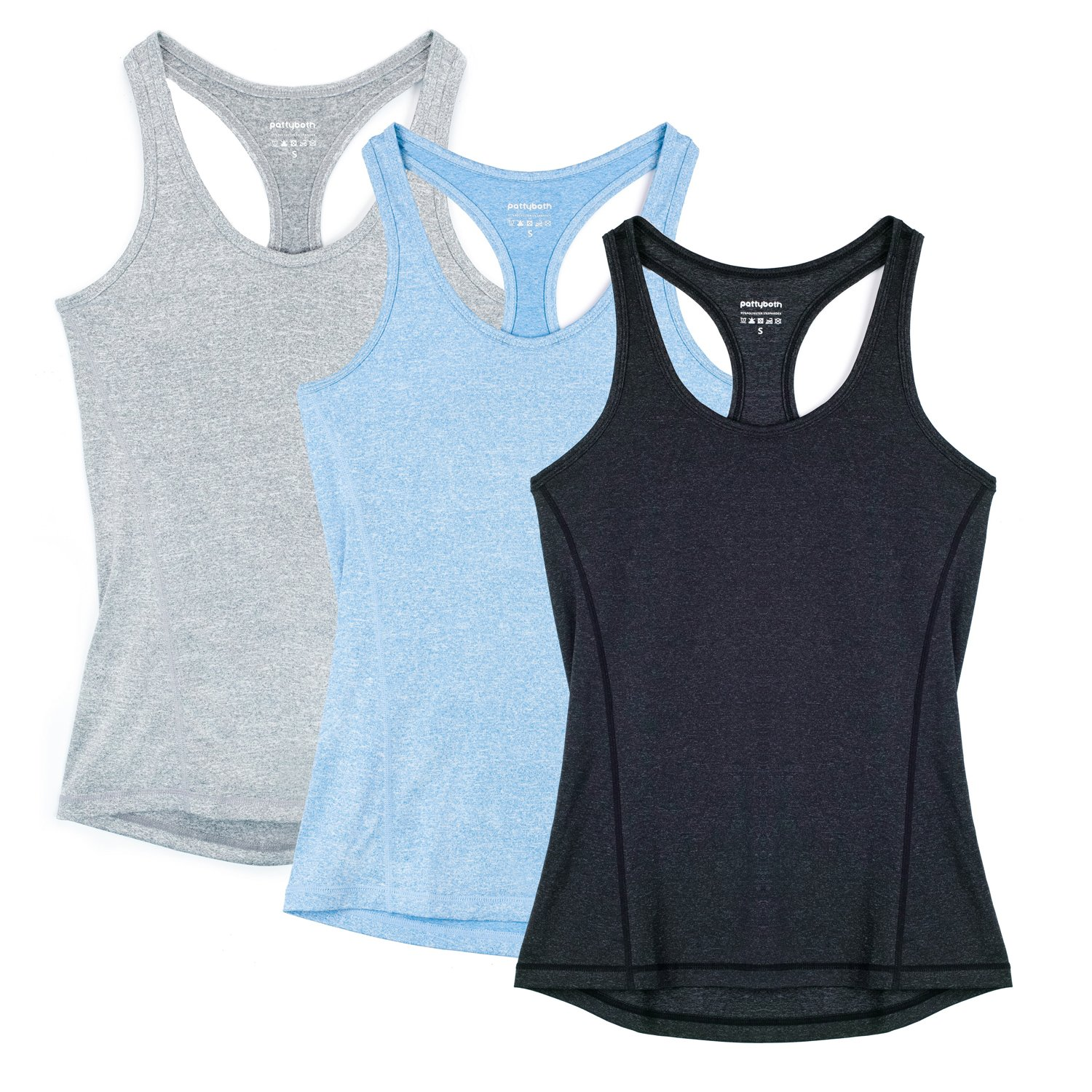 Pattyboth Fitness Vest Activewear Running Workouts Clothes Yoga Racerback Tank Tops for Women Sport Shirts (blackgreyblue, L)