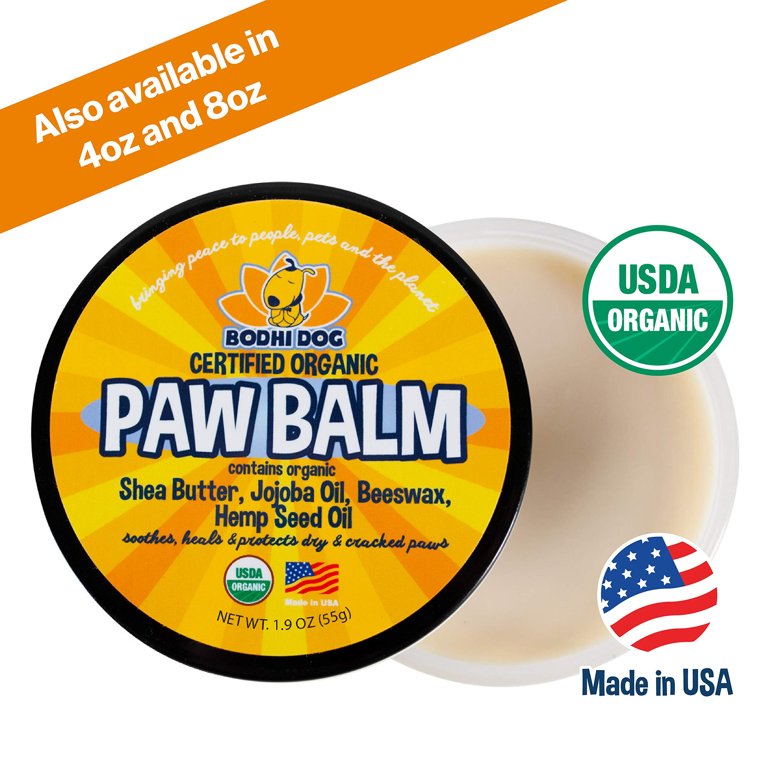 Organic Paw Balm for Dogs & Cats | All Natural Soothing & Healing for Dry Cracking Rough Pet Skin | Protect & Restore Cracked and Chapped Dog Paws & Pads | Better Than Paw Wax 2oz by Bodhi Dog