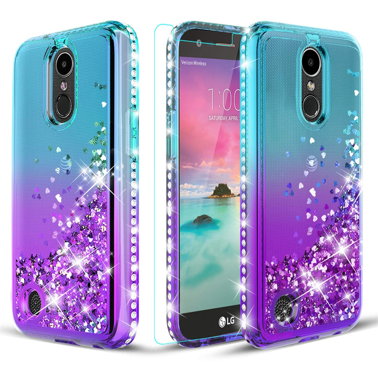 LG K20 Plus Case/K20/K20 V/Harmony/LV 5/Grace LTE Case W[Tempered Glass Screen Protector] Glitter Diamond Liquid Quicksand Waterfall Flowing Sparkle Bling Bling Case for Girls/Women-Teal/Purple