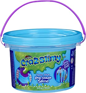 Cra-Z-Art CRA-Z-Slimy Premade Slime Bucket Storage Tub with Handle, Neon Blue, 24 Ounces