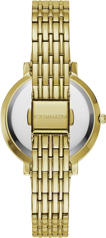 BCBGMAXAZRIA Women's Japanese-Quartz Stainless Steel Case Geniune Leather/Stainless Steel Strap Casual Watch (Model: BG50665001-08 Gold
