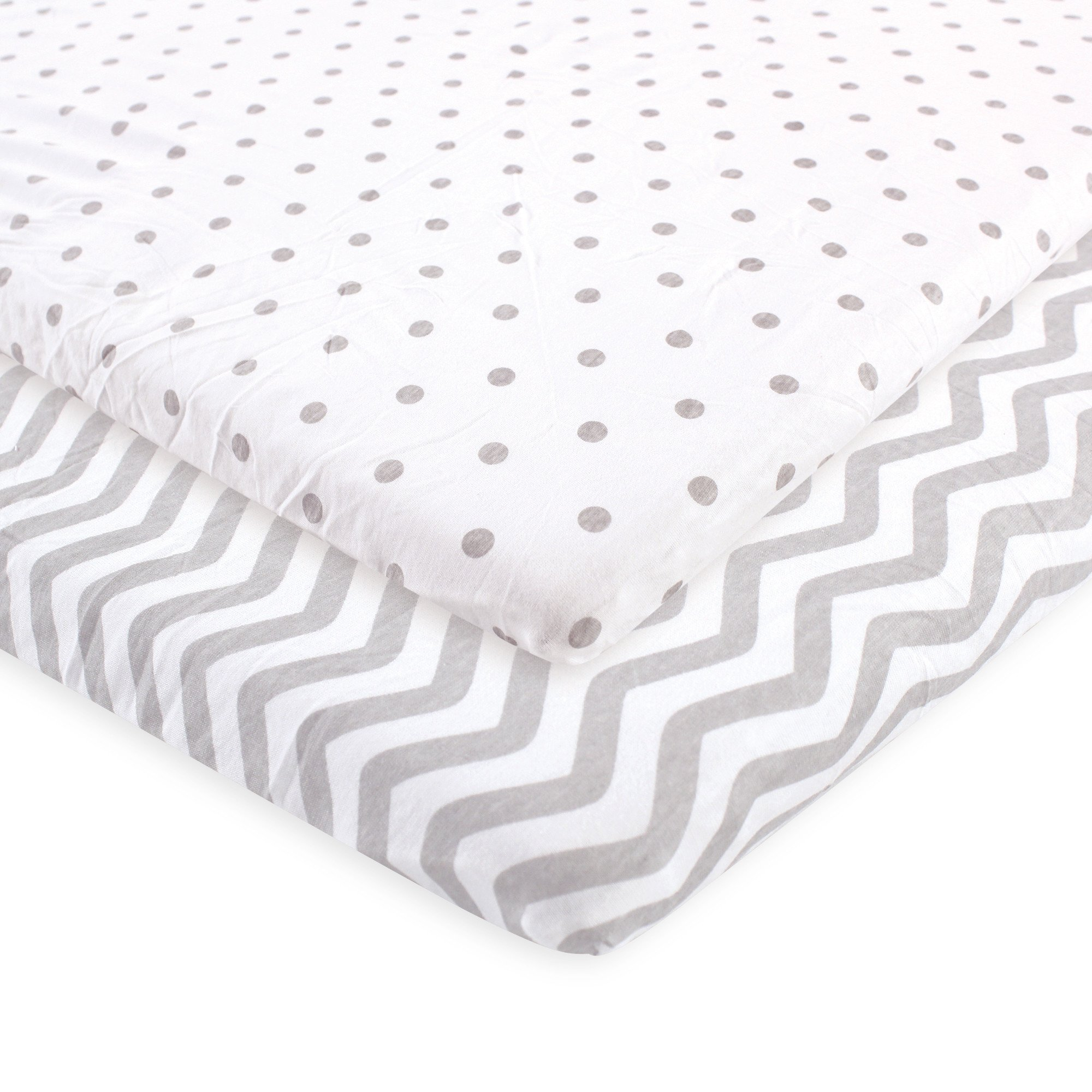 Luvable Friends Fitted Playard Sheet, 2 Pack, Gray Chevron and Dots, One Size