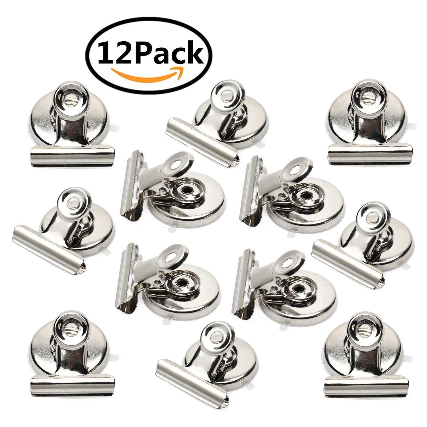Strong Magnetic Clips - Heavy Duty Refrigerator Magnet Clips - 31mm Wide Scratch Safe - Clip Magnets Best for House Office School Use(12Pack) by Ninth Five