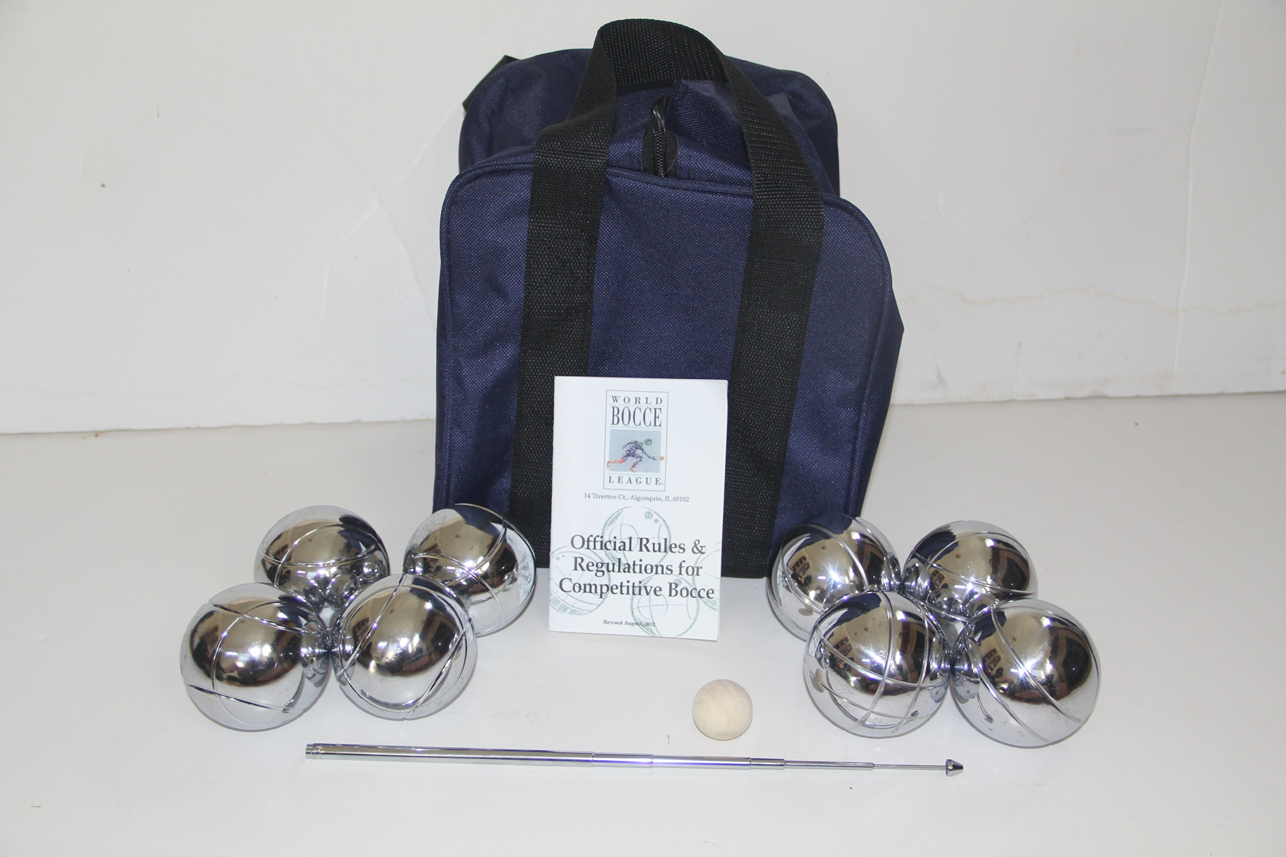 Unique 73mm Petanque/Bocce Pack - with 8 Silver Balls, blue nylon case, rule book and extendable measuring device