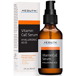 YEOUTH Vitamin C and E Day Serum with Hyaluronic Acid, anti aging skin care product/anti wrinkle serum will fill fine lines, even skin tone and fade age spots (2oz)
