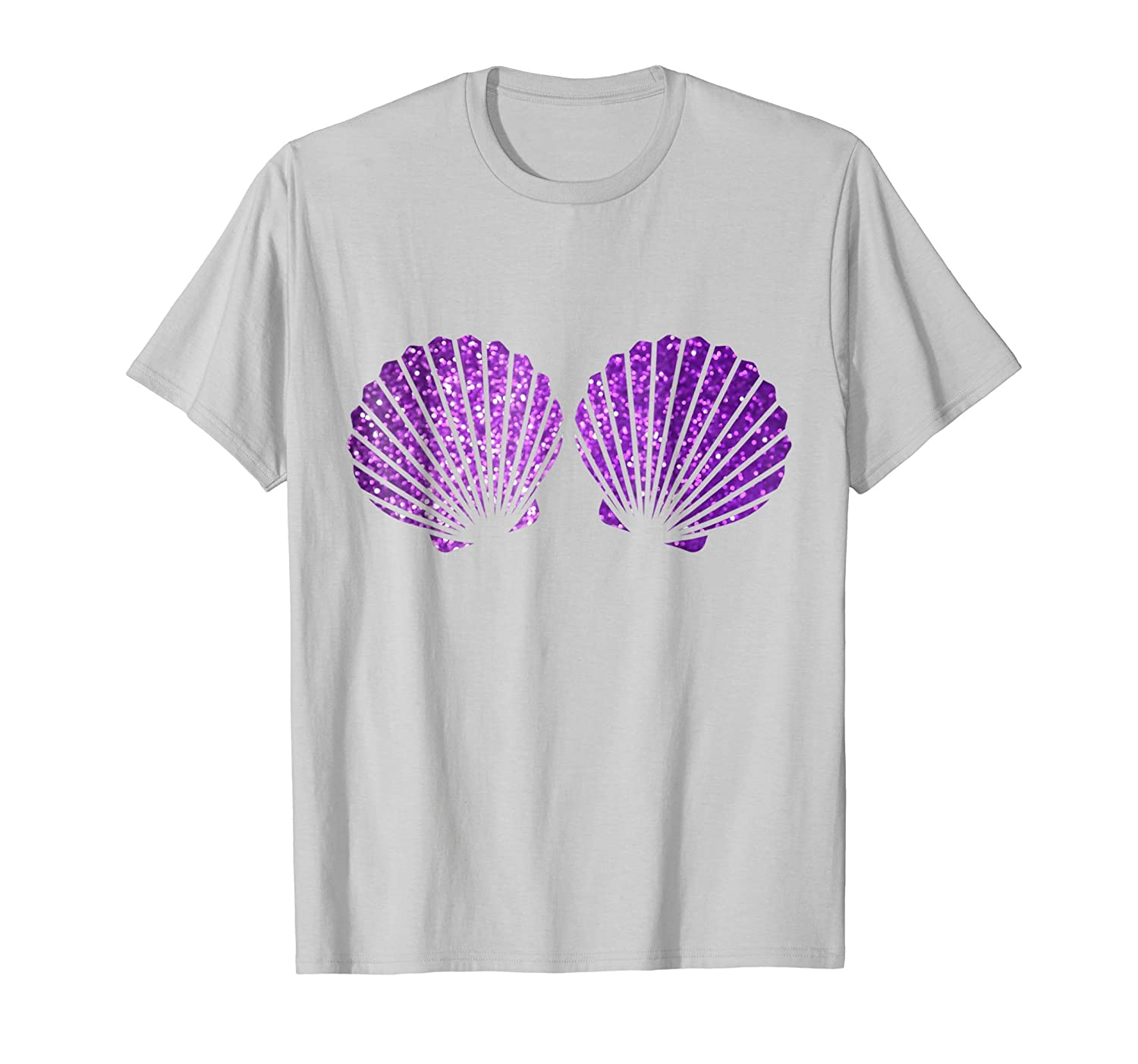Beautiful Purple Violet Shells Mermaid Bra Party T Shirt-4LVS