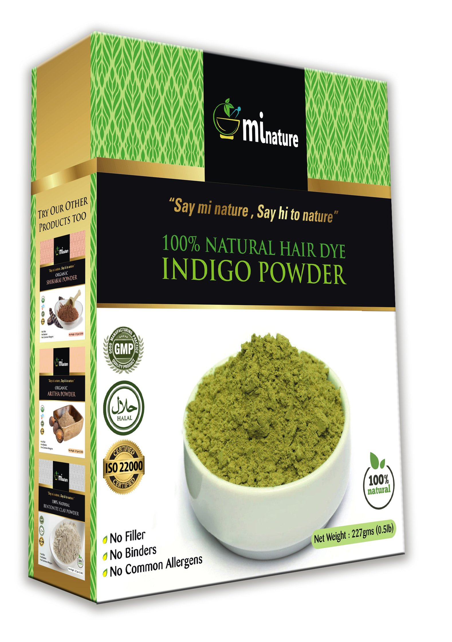 mi nature Indigo Powder, Indigofera tinctoria, 100% Natural Hair Color, Pure Indigo hair dye, for blue/black hair, 1/2 LB (227 grams)