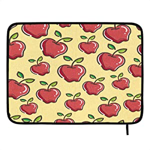 Absorbent Dish Drying Mat Red Apple Healthy Fruit Kitchen Counter Mat Protector Heat Resistant Drying Pad Protector Suitable for Kitchen Sink Dining Table decor 24x18 inch