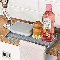 YOHOM Kitchen Sink Sponge Holder Organizer for Countertop Soap Tray Dishwashing Sponge Holder with Suction Cups Dish…
