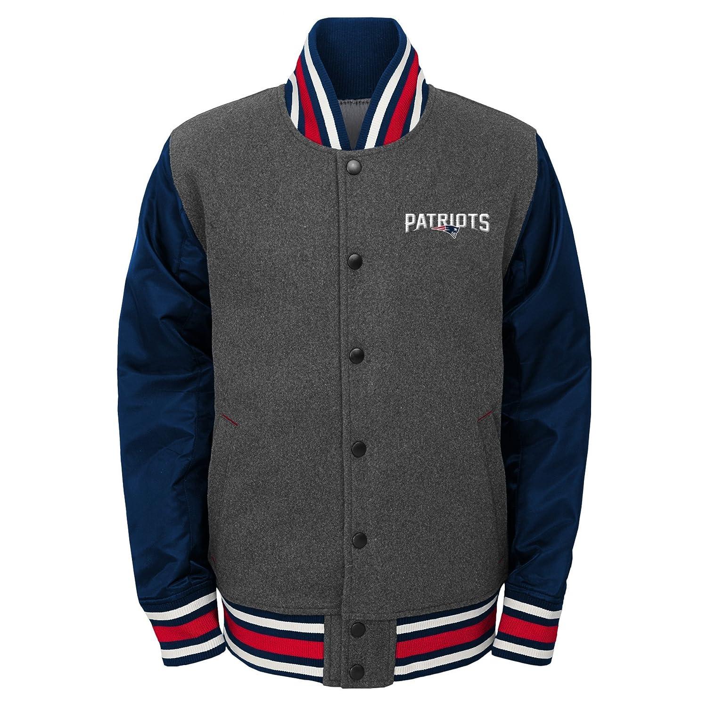 Amazon.com : NFL New England Patriots Youth Boys Letterman Varsity Jacket Charcoal Grey, Youth Medium(10-12) : Sports & Outdoors