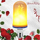 Texsens LED Flame Effect Light Bulb, E26 LED Flickering Flame Light Bulbs, 105pcs 2835 LED Beads Simulated Decorative Light Atmosphere Lighting Vintage Flaming Light Bulb for Bar/ Festival Decoration