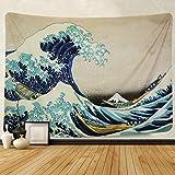 Amkun Tapiz de pared para colgar en la pared, gran ola Kanagawa, tapiz de pared con decoración para el hogar, sala de…