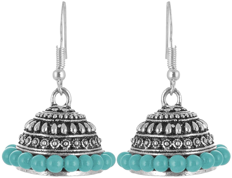 Subharpit Bollywood Stylish Charm Designe Turquoise Non Precious Metal Silver Jhumki Earring /…