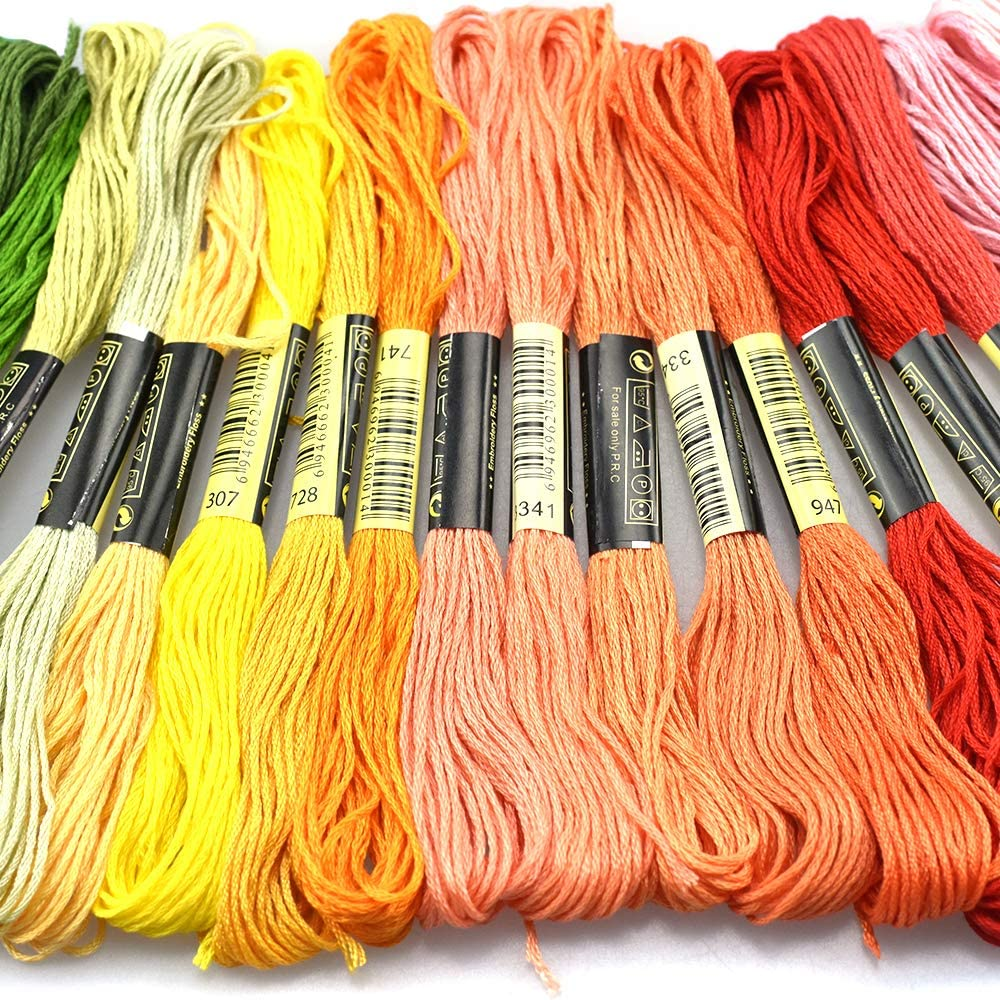 100 Skeins Per Pack and Free Set of Embroidery Needles as Well as 3 Accessories. Rainbow Color Embroidery Floss Friendship Bracelet Making kit CYKT Rainbow Color Cross Stitch Threads