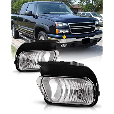 AUTOFREE Fog Lights for 2003-2006 Chevy Silverado1500 2500 3500/02-06 Avalanche w/o Body Cladding Fog Lamps Replacement for Pickup H10 12V 42W- 1 Pair (Clear Lens): Automotive