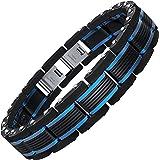 COOLMAN Men Bracelets Blue&Black Adjustable Bracelet for Men 8.5-9 Inch (With Gift Box)