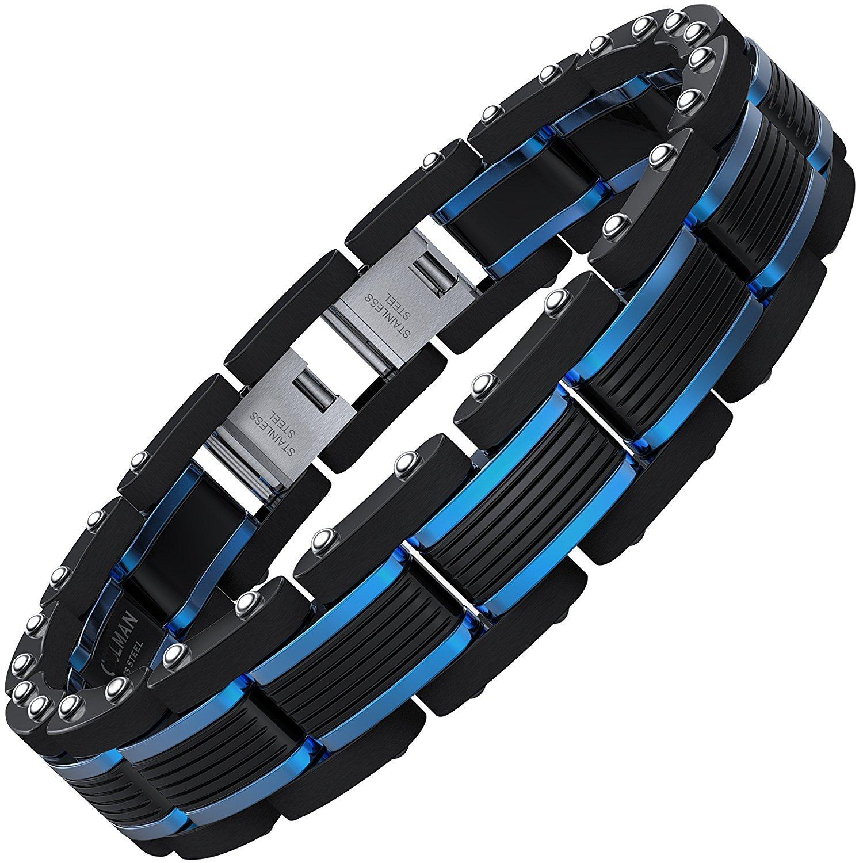 COOLMAN Mens Stainless Steel Bracelets Blue&Black Adjustable Bracelet for Men (Gift Box) CMSTB-2014-194-8-Inches