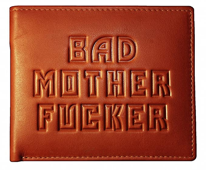 Bad Madre Fucker Cartera - 100% Piel - Marrón: Amazon.es ...