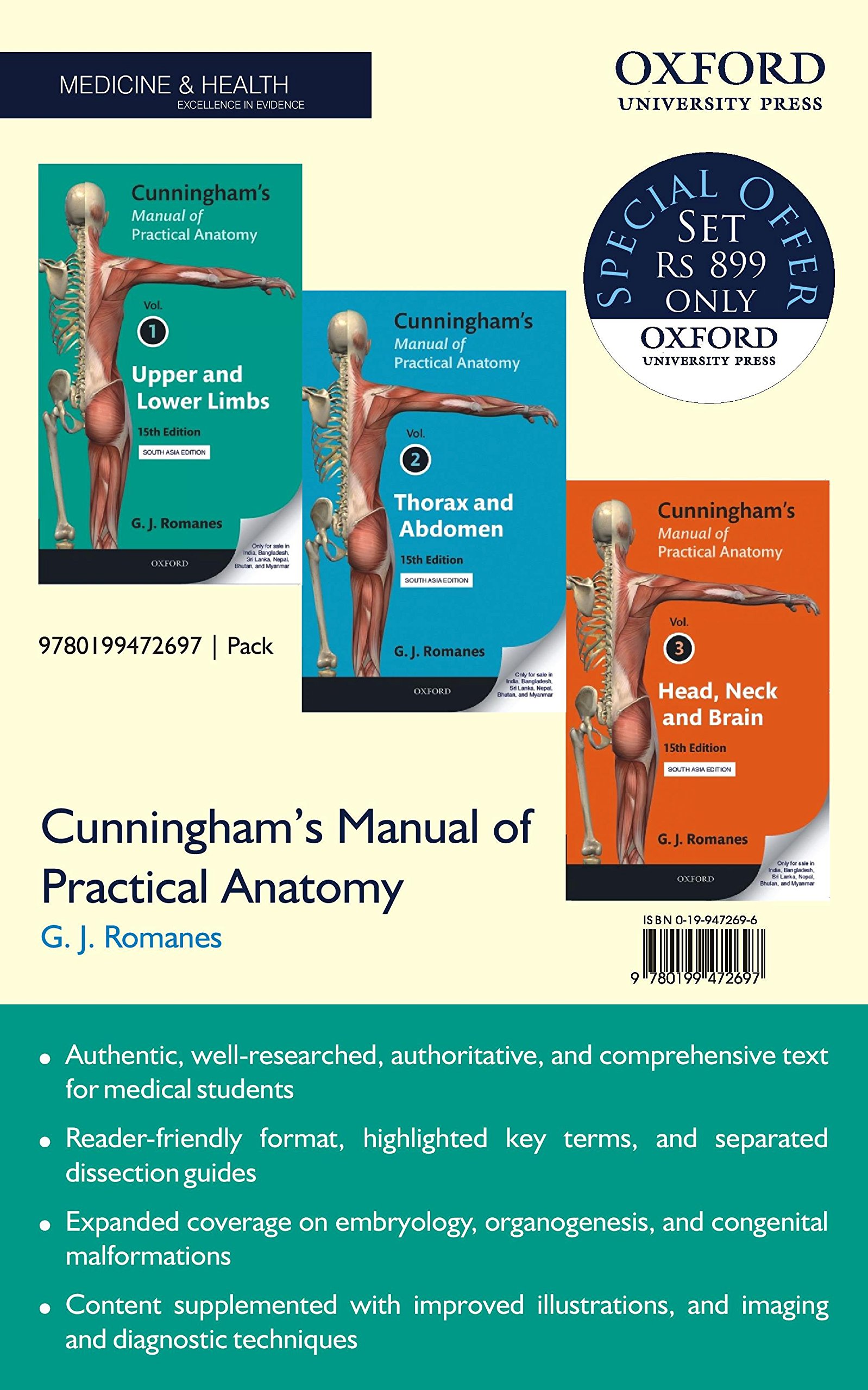Buy Cunningham\'s Manual of Practical Anatomy - 3 volume set Book ...