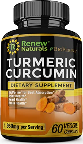 Turmeric Curcumin Supplement Capsules with Bioperine 1950 mg Serving Supports Joint Health Pain Relief Anti Inflammatory Antioxidant All Natural Non-GMO 60 Capsules 100 Money Back Guarantee