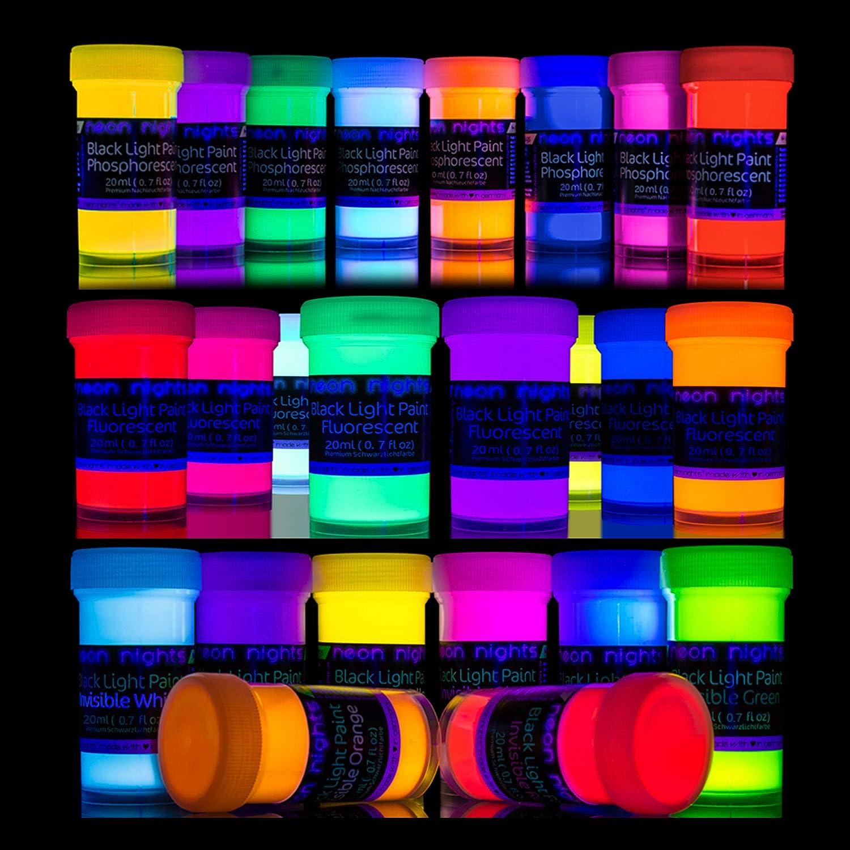 Neon nights '3 Forces Set' 24缶   暗闇で光る + ブラックライト + 見えないUVペイント   ルミナス、リン、自己発光、蛍光   プレミアムアートと壁絵画用   B07P13J5G2