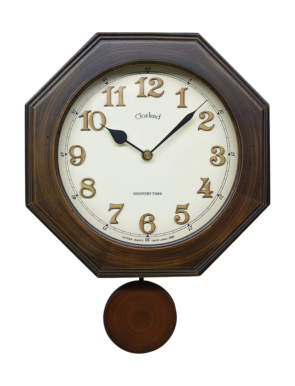 さんてる レトロ 電波 振り子 柱時計 日本製掛け時計 八角 (木文字) DQL635 B019E60UTG