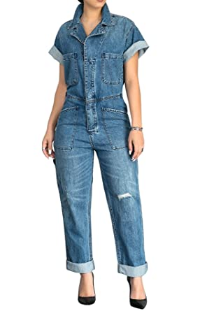 0be9754b73e Amazon.com  Lovaru Women s Short Sleeve Boyfriend Ripped Button Down Loose Denim  Jumpsuit With Pockets  Clothing