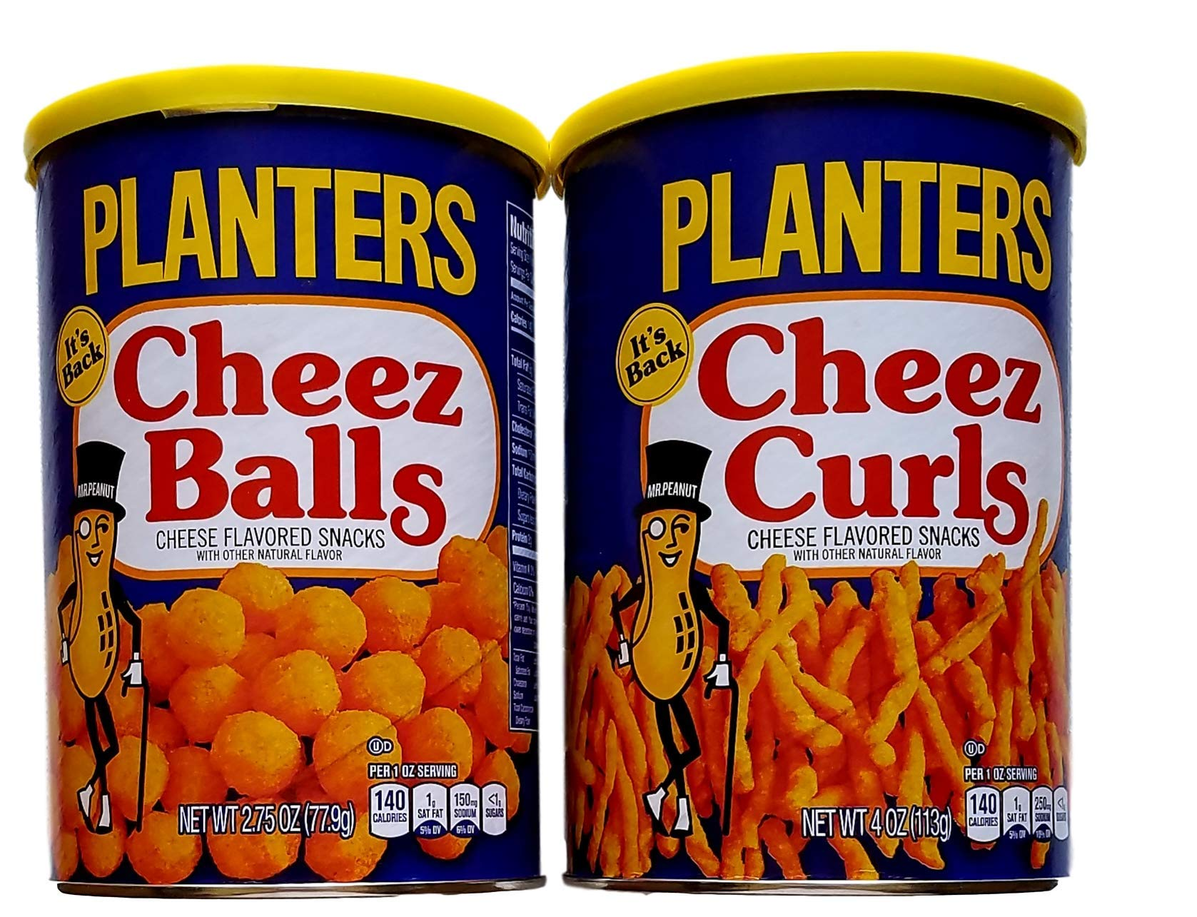 Cheez Balls 2.75 Oz & Cheez Curls 4 Oz - Planters Variety Bundle of 2 by PLANTERS