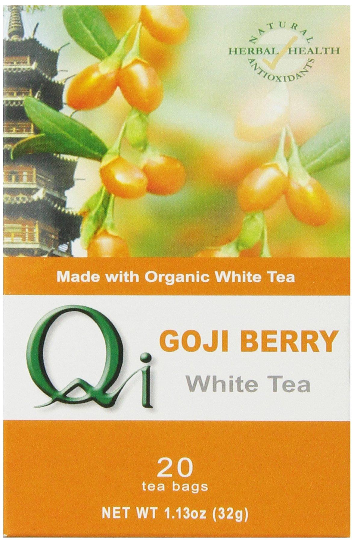 Qi Organic Goji Berry White Tea, 20-Tea Bags, 1.13-Ounce (Pack of 6)