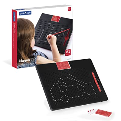 Guidecraft Magna Tablet - 2D Bead Drawing & Sketching, Magnetic Pen Tip Creative Design Preschool STEM Learning & Educational Toys for Children: Toys & Games