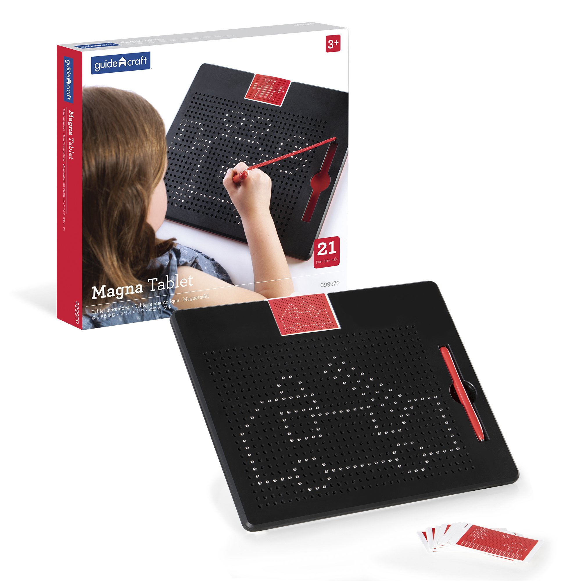 Guidecraft Magna Tablet - 2D Bead Drawing & Sketching, Magnetic Pen Tip Creative Design Preschool STEM Learning & Educational Toys Children