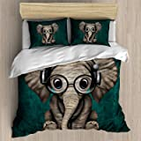 FEIDANNO Cute Baby Elephant Dj Wearing Headphones and Glasses on Blue Duvet Cover Set Queen Size,Little Elephant with…