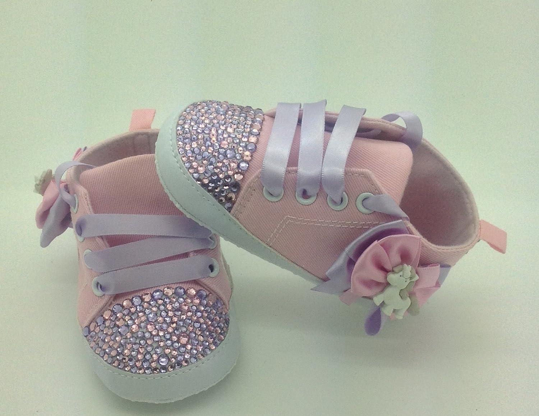 Personalizado Bebé niña rosa unicornio 9/12 Meses. Cuna Cochecito de bebé zapatos Crystal Bling Rhinestone Diamantes de Campanilla Bling tamaño 6/9 Meses.