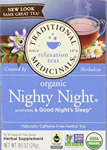 Traditional Medicinals Organic Nighty Night Tea, Caffeine Free, 16 Count (Packaging May Vary)