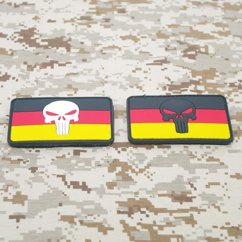 Cobra Tactical Solutions Punisher Cr/âne Deutschland Germany Drapeau Allemagne Patch PVC sa lani/ère Hook /& Loop Airsoft Paintball A Sac /à Dos Tactique V/êtements