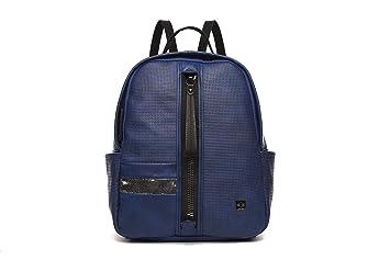 MAMBO DE OTROS MUNDOS mochilas mujer casual efecto piel Azul marina con cremallera central, mochilas de vestir vintage y de moda: Amazon.es: Equipaje