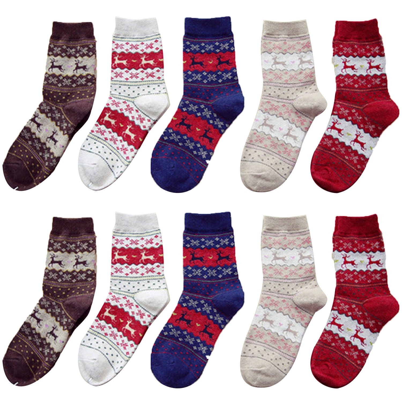 Beetest reg; 5 Paia Natale Elk Stile Cotone Addensare Calzini / Invernale Caldi Casuale Calze per Donna TRTAZ11A