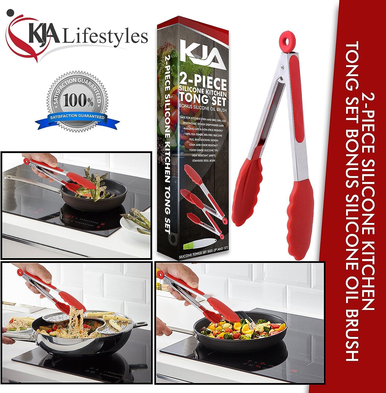 Premium Lebensmittelzange aus Edelstahl K/üchenzange antihaftbeschichtet BPA-frei 22,9 cm und 30,5 cm Grillen graues Silikon
