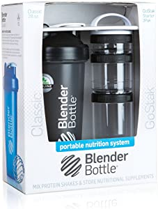 BlenderBottle Combo-Pack: (1) 28 Oz Classic Bottle + (1) GoStak Starter 3PAK (Black)
