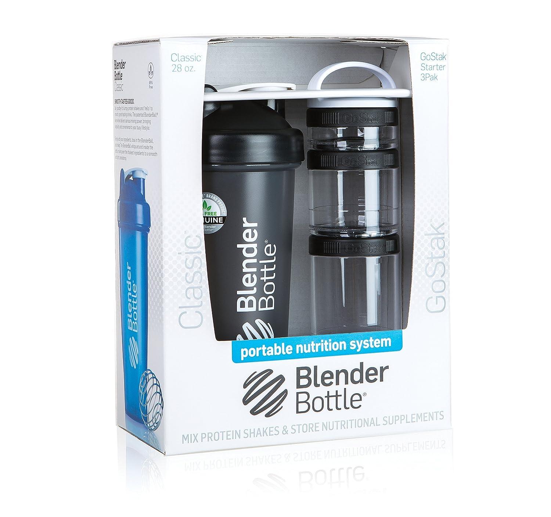 BlenderBottle Combo-Pack: (1) 28 Oz Classic Bottle + (1) GoStak Starter 3PAK (Black)