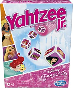 Hasbro Gaming Yahtzee Jr.: Disney Princess Edition Board Game for Kids Ages 4 and Up, for 2-4 Players, Counting and Matching Game for Preschoolers (Amazon Exclusive)